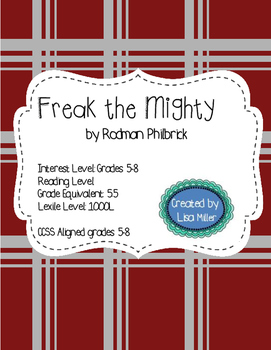 Freak the Mighty Novel Unit with Differentiated/Interactive Notes