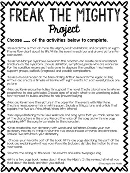 Freak the Mighty Project choice activity