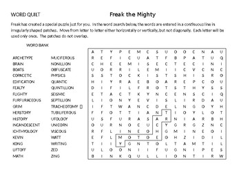 Freak the Mighty Quilt puzzle