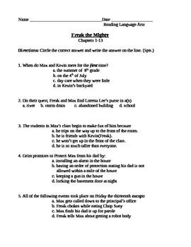 Freak the Mighty Quiz Chapters 1-13