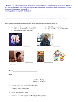 Freak the Mighty Quiz Packet