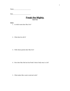 Freak the Mighty Short Answer Unit Test