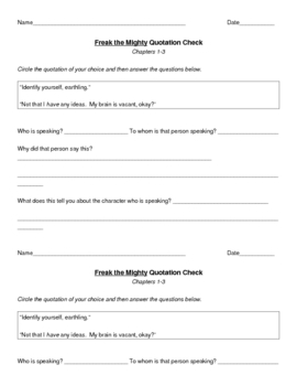 Freak the Mighty Short Reading Quizzes