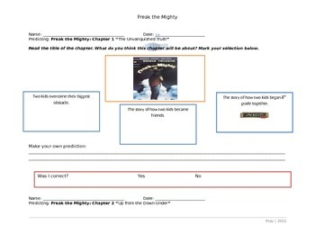 Freak the Mighty Student Worksheets