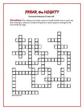 Freak the Mighty Synonym/Antonym Crossword—Use with Bookmarks Plus!