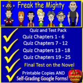 Freak the Mighty Tests, Quizzes, Assessments, Printable + GOOGLE SELF-GRADING!