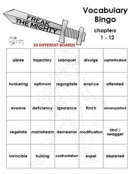 Freak the Mighty Vocabulary Bingo