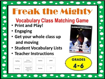 Freak the Mighty Vocabulary Matching Game