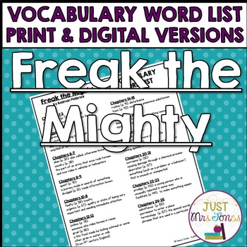Freak the Mighty Vocabulary Word List