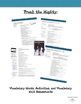 Freak the Mighty: Vocabulary/Activities and Vocabulary Tests