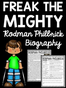Freak the Mighty author Rodman Philbrick biography and questions