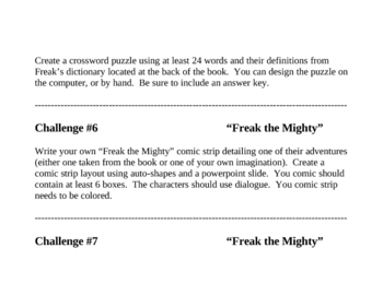 """""""Freak the Mighty"""", by R. Philbrick, Challenges"""