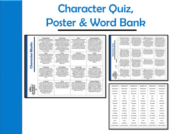 Freak the Mighty by Rodman Philbrick Character Quiz & Word Wall