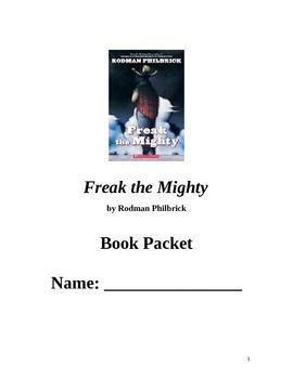 Freak the Mighty by Rodman Philbrick Complete Novel Study Student Guide Booklet