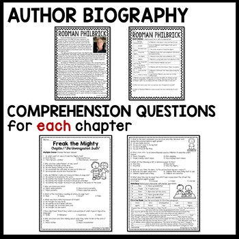 Freak the Mighty by Rodman Philbrick UNIT PLAN- questions, projects, test