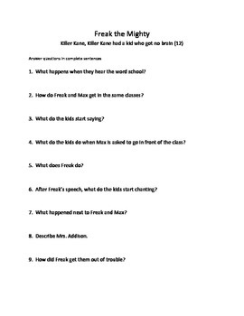 Freak the Mighty comprehension study guide questions