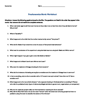 freakonomics video worksheet questions economics tpt. Black Bedroom Furniture Sets. Home Design Ideas