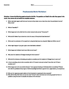 Freakonomics Video Worksheet/Questions - Economics