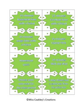 Classroom Reward Printables