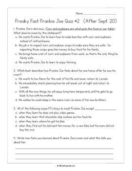Freaky Fast Frankie Joe by Lutricia Clifton:  15 Quizzes
