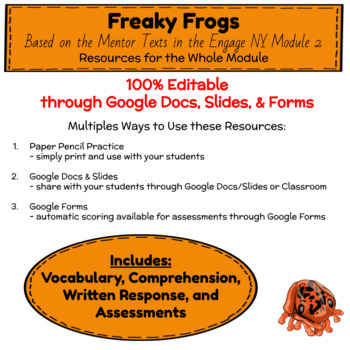 Distance Learning Freaky Frogs Unit of Study (EngageNY ELA Grade 3 Module 2)