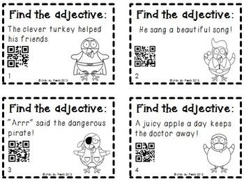 Adjectives Task Cards & QR Codes Turkey Theme