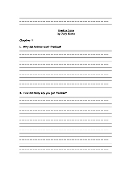 Freckle Juice Comprehension Questions-Feedback needed!