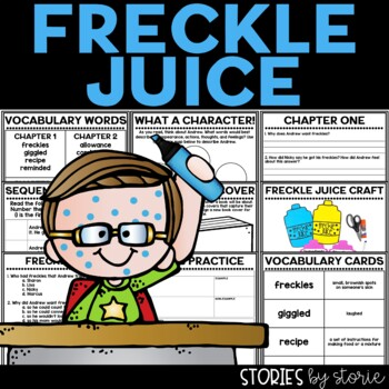 Freckle Juice Book Questions, Vocabulary, & Freckle Juice Craft