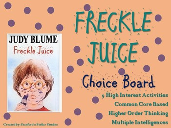 Freckle Juice Choice Board Novel Study Activities Menu Book Project Tic Tac Toe