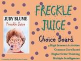 Freckle Juice Choice Board Novel Study Activities Menu Boo
