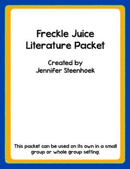 Freckle Juice Comprehension packet for reading groups