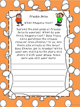 Freckle Juice-Creative Writing Assignment