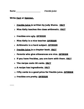 Freckle Juice Fact & Opinion Worksheet