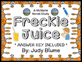 Freckle Juice (Judy Blume) Novel Study / Guided Reading Comprehension