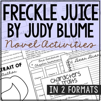 Freckle Juice Interactive Notebook Novel Unit Study Activities, Book Report