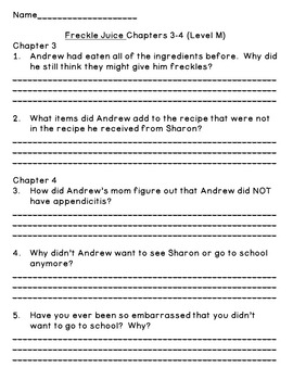 Freckle Juice--Level M--Guided Reading Comprehension Chapter Questions