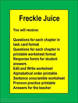 Freckle Juice Novel Study