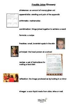 Freckle Juice Literature Unit or Book Club selection
