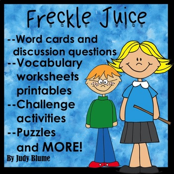 Freckle Juice Novel Guided Reading Lesson Plan No prep Worksheets Printables