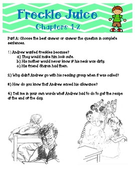 Freckle Juice Novel Study