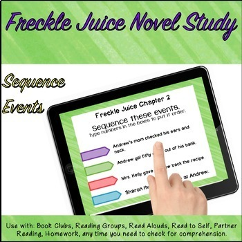 Google Classroom™ Freckle Juice SELF CHECKING Novel Study CHAPTER 1