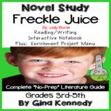 Freckle Juice Novel Study & Enrichment Project Menu