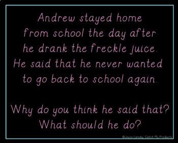 Freckle Juice Comprehension Questions Power Point