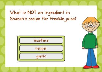 Freckle Juice Reading Comprehension DIGITAL Task Cards BOOM CARDS