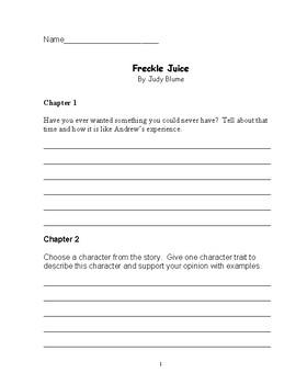 Freckle Juice Reading Comprehension Packet