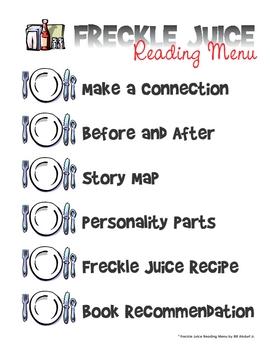 Freckle Juice Reading Menu
