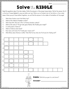 Freckle Juice: Reading Response Activities and Projects