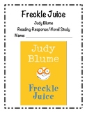 Freckle Juice Reading Response/Novel Study (Judy Blume)