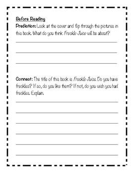 Freckle Juice Reading Response/Novel Study (Judy Blume)