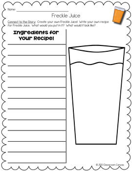 Freckle Juice Reading Response Packet